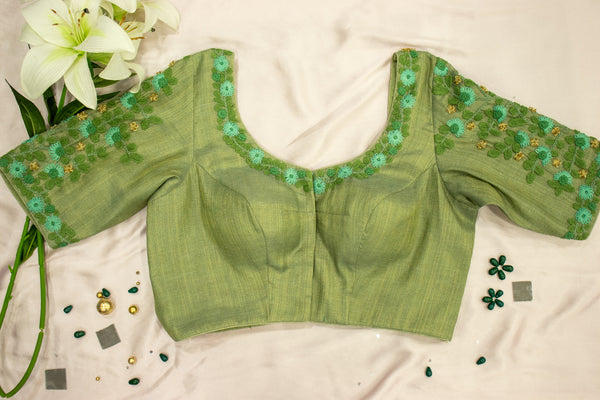 Olive Green Tissue Embroidered blouse