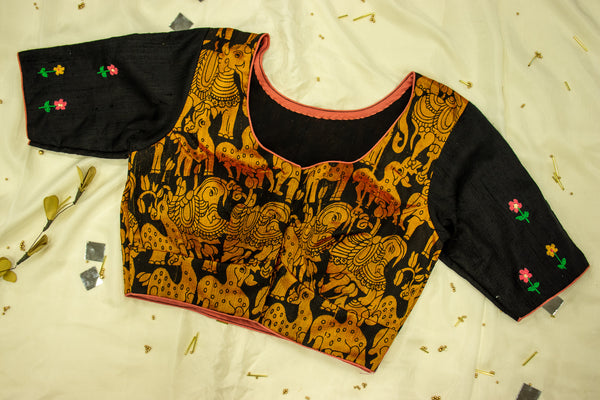 Black Hand Painted Kalamkari Blouse