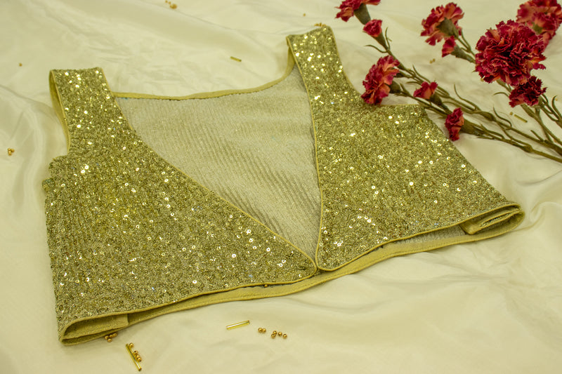 Gold Sequined Lycra Blouse