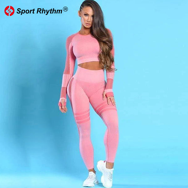 Sportrhythm™ Mesh Long Sleeve Crop Top And Seamless Leggings Suit