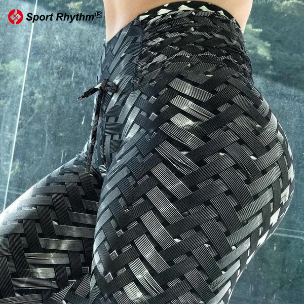 Sportrhythm™ High Waist Designer Iron Armor Weave Print Push Up Leggings