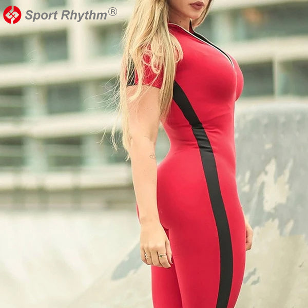 Sportrhythm™ New Sexy Yoga wear for Gym Clothing Patchwork Zip-up short sleeve Skinny Yoga Set Fitness women Sports Running Yoga Suit