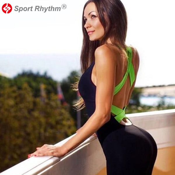 Sportrhythm™ 2020 Workout Tracksuit For Women One Piece Sport Clothing Backless Sport Suit Running Tight Dance Sportswear Gym Yoga Women Set