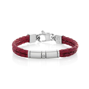 TRIBE BRACELET 026421/002 DOUBLE RED LEATHER