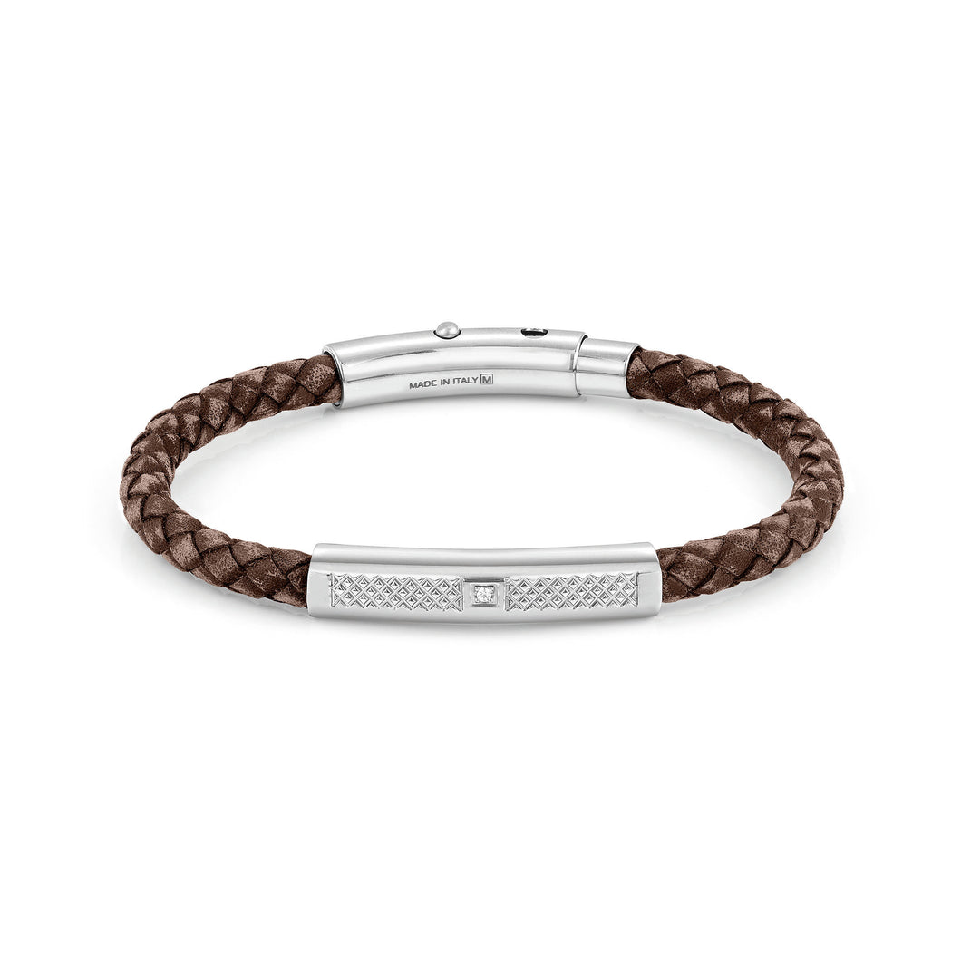 TRIBE BRACELET 026434/003 SINGLE BROWN LEATHER
