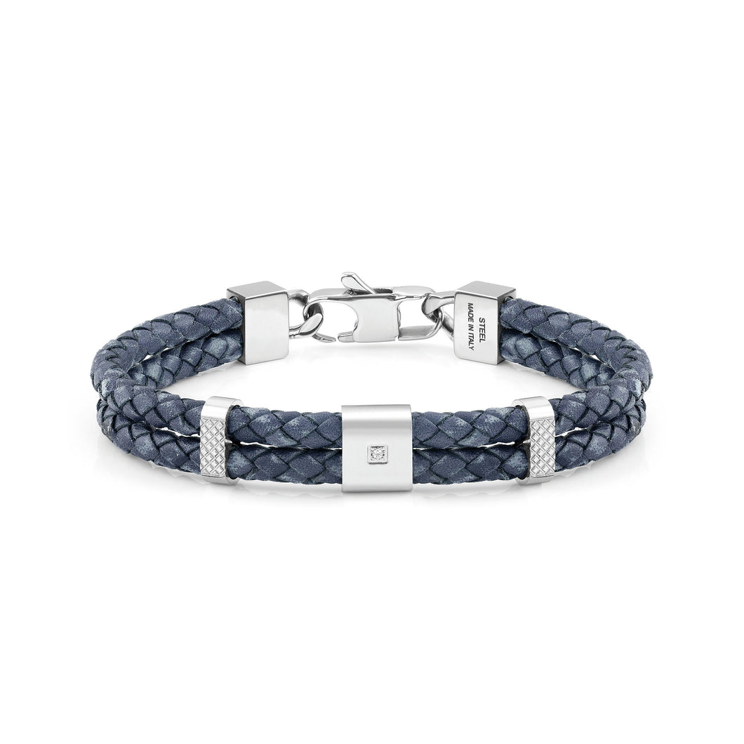 TRIBE BRACELET 026435/004 DOUBLE BLUE LEATHER