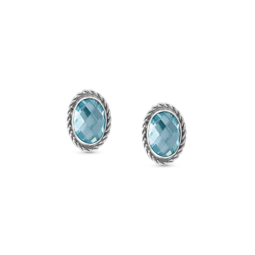 EARRINGS 027801/006 LIGHT BLUE CZ