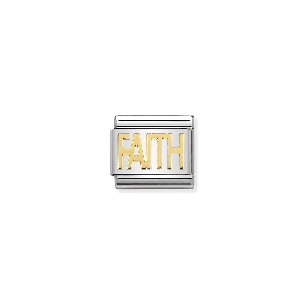 COMPOSABLE CLASSIC LINK 030107/28 FAITH WRITING IN 18K GOLD