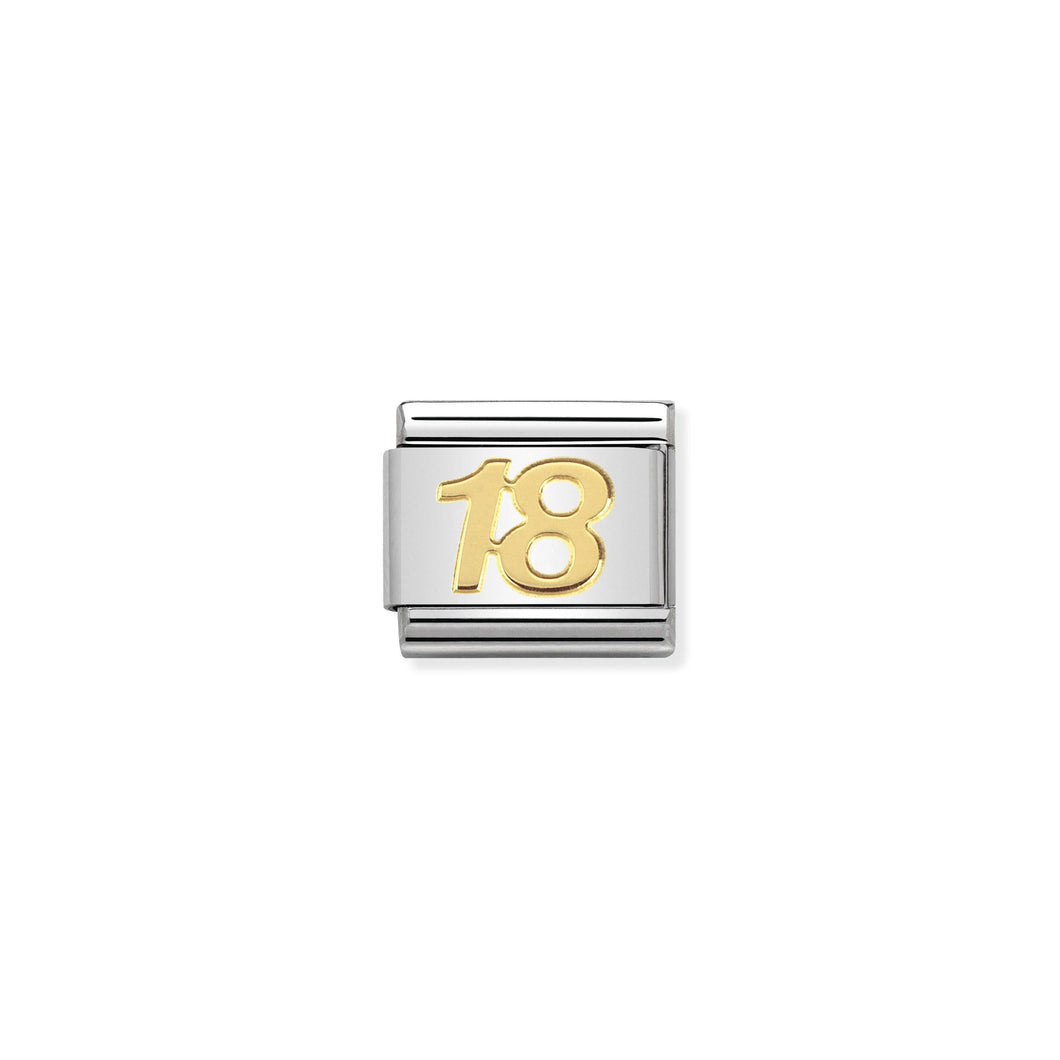 COMPOSABLE CLASSIC LINK 030109/34 NUMBER 18 SYMBOL IN 18K GOLD