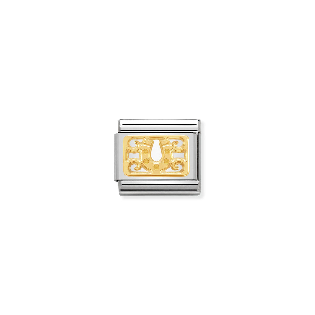 COMPOSABLE CLASSIC LINK 030153/06 HORSESHOE AND DECORATIONS PLAQUE IN 18K GOLD