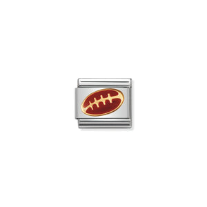 COMPOSABLE CLASSIC LINK 030203/09 FOOTBALL IN 18K GOLD & ENAMEL