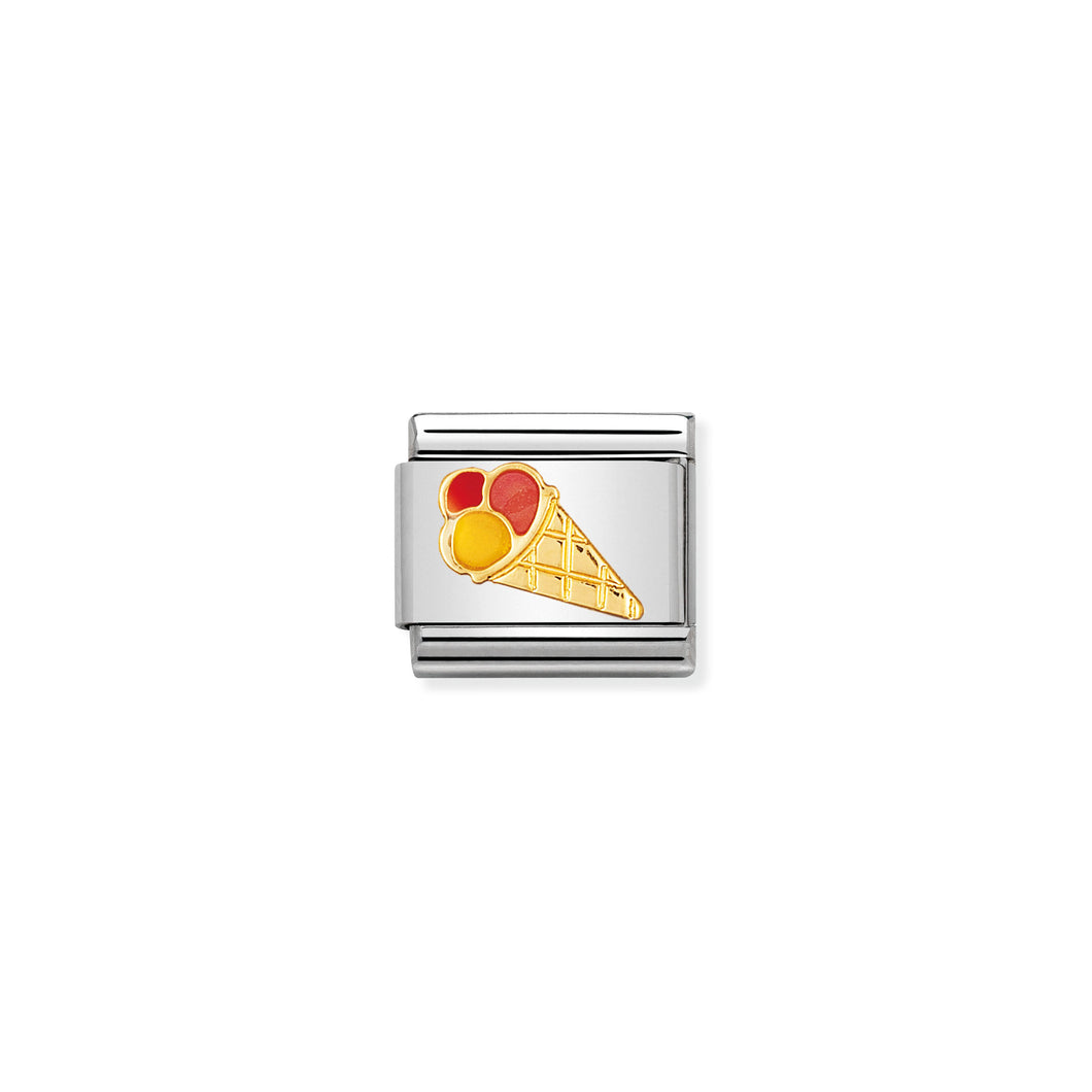 COMPOSABLE CLASSIC LINK 030209/30 ICE CREAM IN 18K GOLD AND ENAMEL