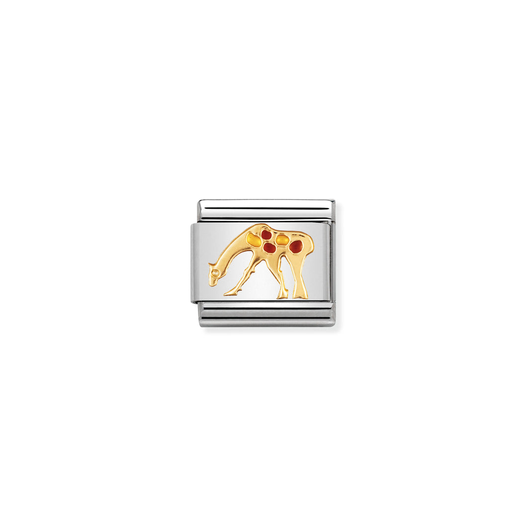 COMPOSABLE CLASSIC LINK 030211/26 GIRAFFE IN 18K GOLD AND ENAMEL