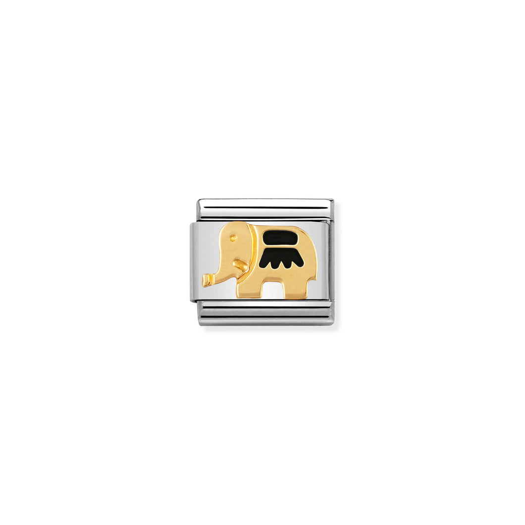 COMPOSABLE CLASSIC LINK 030212/23 BLACK ELEPHANT IN 18K GOLD AND ENAMEL