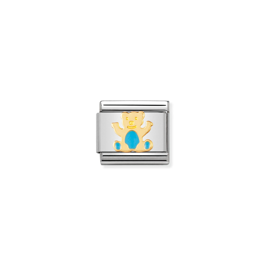 COMPOSABLE CLASSIC LINK 030212/33 LIGHT BLUE BEAR IN 18K GOLD AND ENAMEL