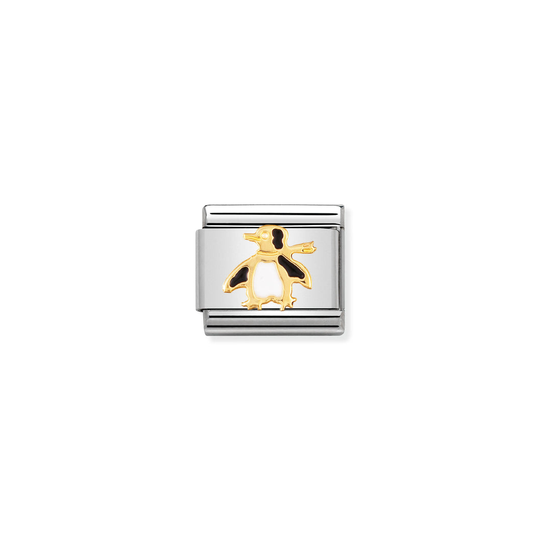 COMPOSABLE CLASSIC LINK 030213/04 PENGUIN IN 18K GOLD AND ENAMEL