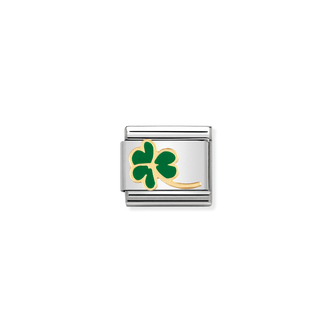 COMPOSABLE CLASSIC LINK 030214/23 CLOVER WITH STEM IN 18K GOLD AND ENAMEL