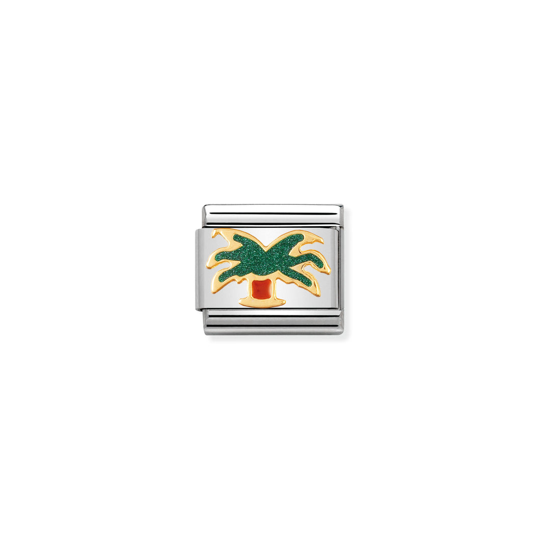 COMPOSABLE CLASSIC LINK 030214/30 PALM TREE IN 18K GOLD AND ENAMEL