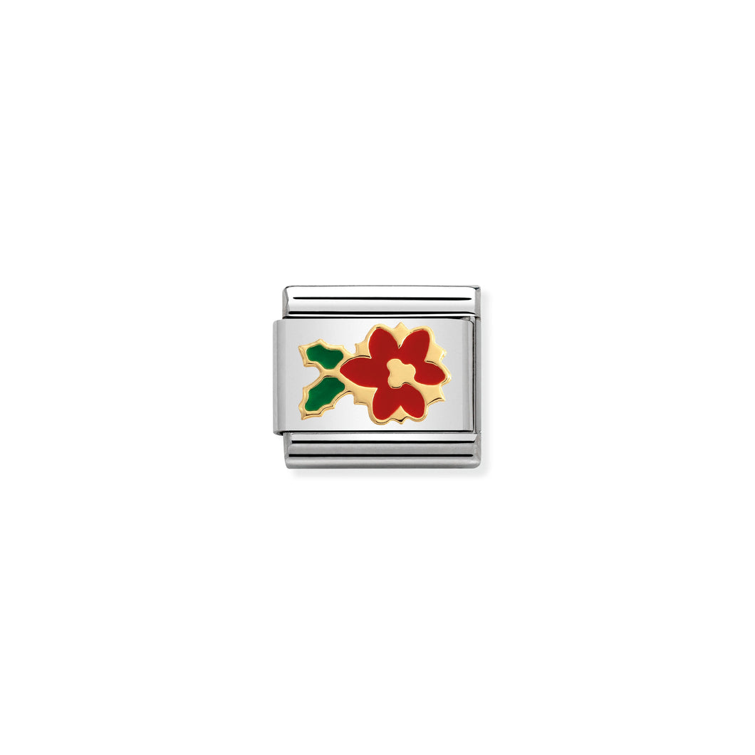 COMPOSABLE CLASSIC LINK 030225/20 POINSETTIA FLOWER IN 18K GOLD AND ENAMEL