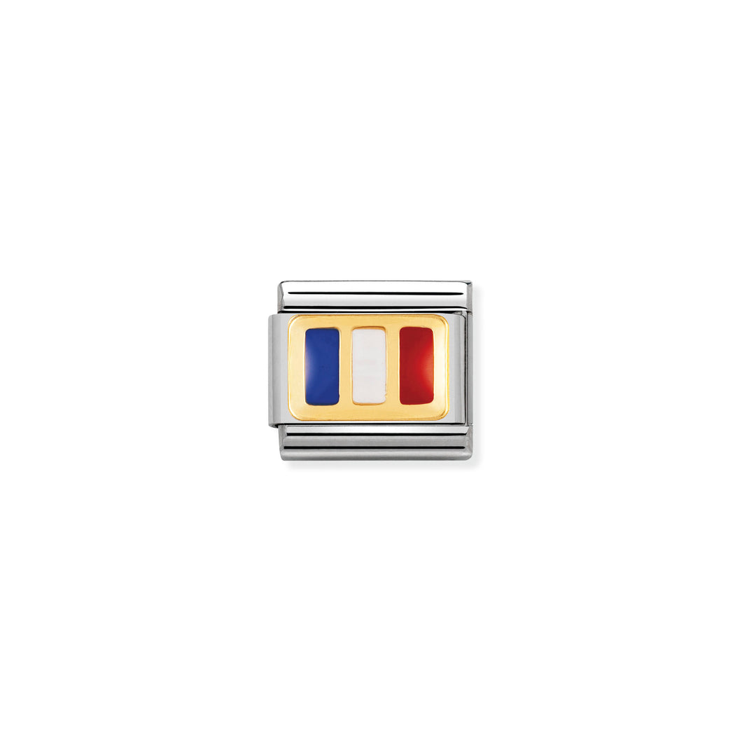 COMPOSABLE CLASSIC LINK 030234/05 FRANCE FLAG IN 18K GOLD AND ENAMEL