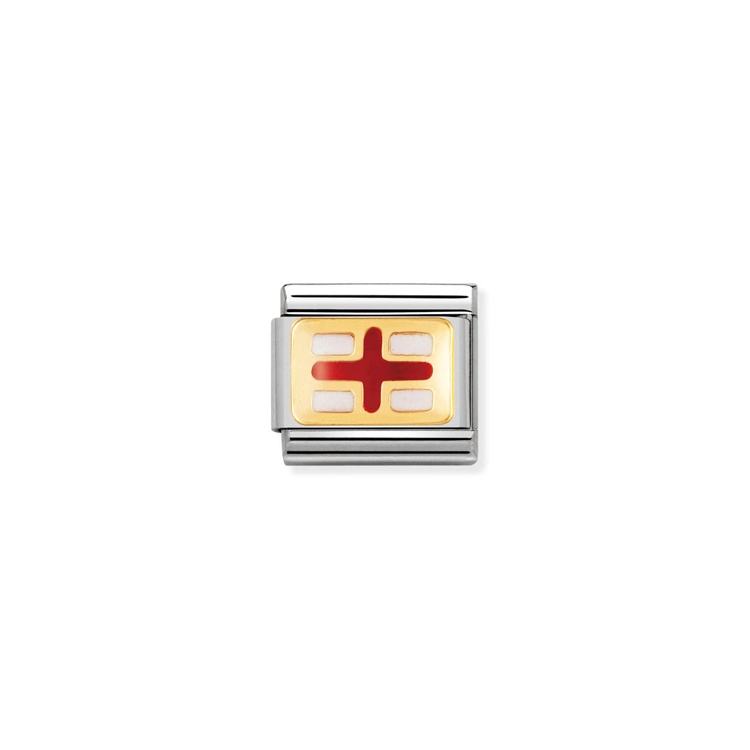 COMPOSABLE CLASSIC LINK 030234/08 ENGLAND FLAG IN 18K GOLD AND ENAMEL