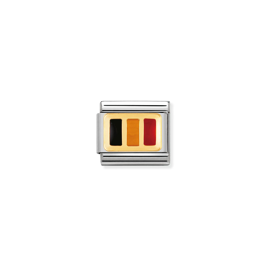 COMPOSABLE CLASSIC LINK 030234/11 BELGIUM FLAG IN 18K GOLD AND ENAMEL