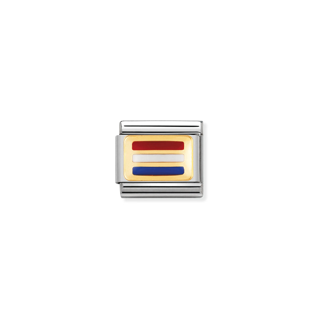 COMPOSABLE CLASSIC LINK 030234/12 HOLLAND FLAG IN 18K GOLD AND ENAMEL