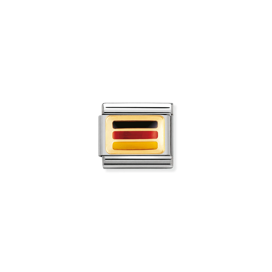 COMPOSABLE CLASSIC LINK 030234/14 GERMANY FLAG IN 18K GOLD AND ENAMEL