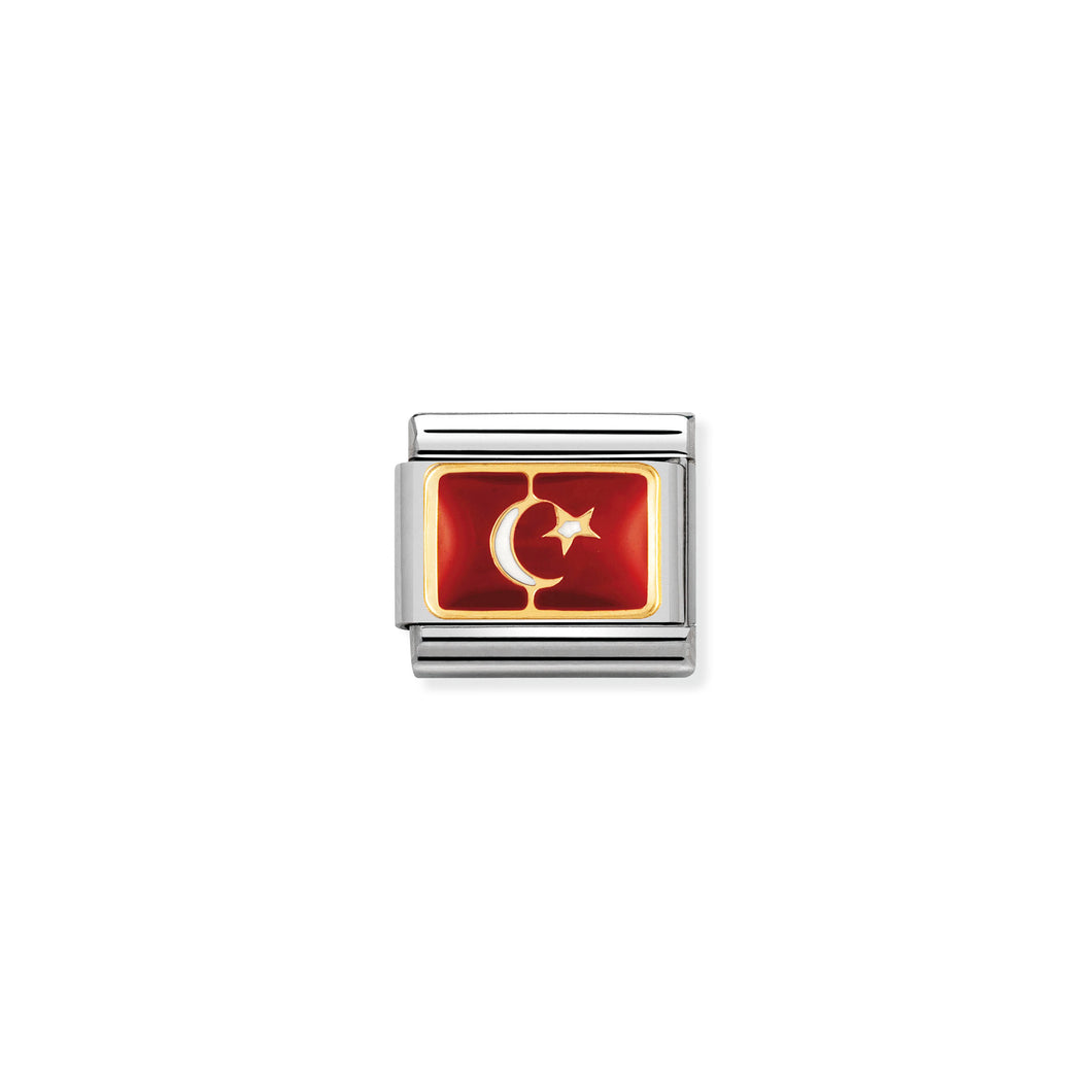 COMPOSABLE CLASSIC LINK 030234/20 TURKEY FLAG IN 18K GOLD AND ENAMEL