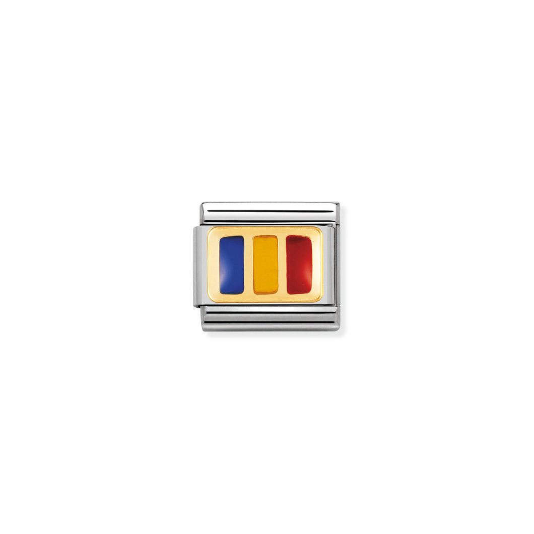 COMPOSABLE CLASSIC LINK 030234/26 ROMANIA FLAG IN 18K GOLD AND ENAMEL