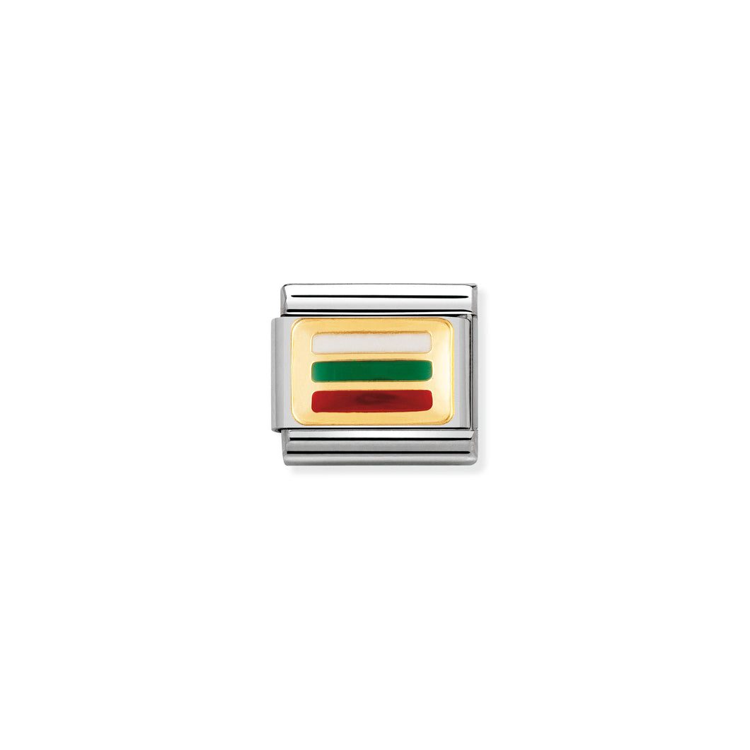 COMPOSABLE CLASSIC LINK 030234/27 BULGARIA FLAG IN 18K GOLD AND ENAMEL