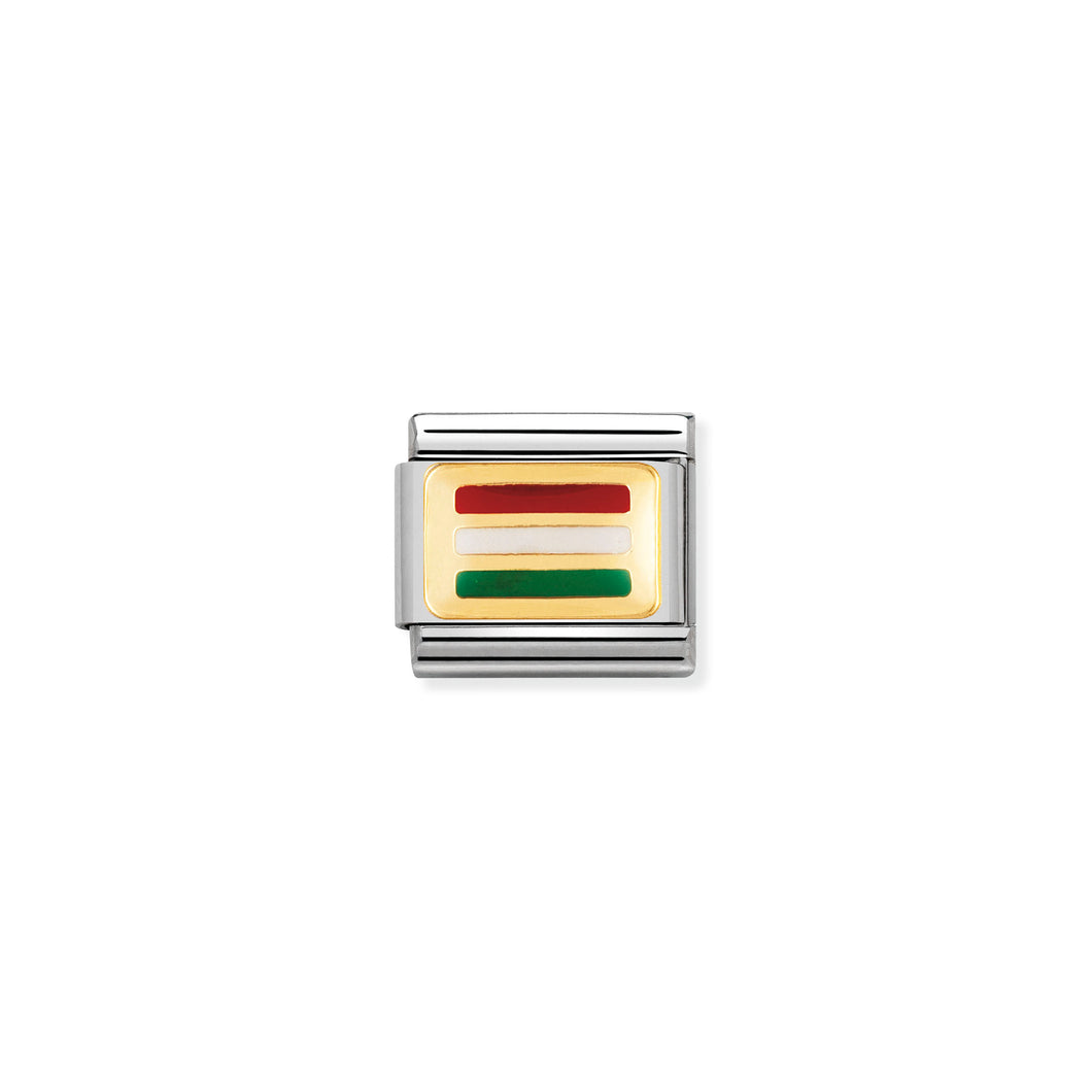 COMPOSABLE CLASSIC LINK 030234/28 HUNGARY FLAG IN 18K GOLD AND ENAMEL