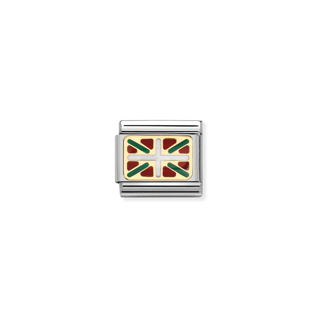 COMPOSABLE CLASSIC LINK 030234/46 BASQUE FLAG IN 18K GOLD AND ENAMEL