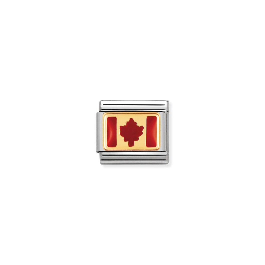 COMPOSABLE CLASSIC LINK 030235/05 CANADA FLAG IN 18K GOLD AND ENAMEL