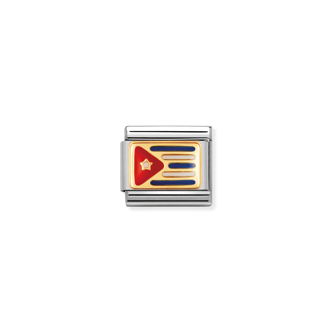 COMPOSABLE CLASSIC LINK 030235/07 CUBA FLAG IN 18K GOLD AND ENAMEL