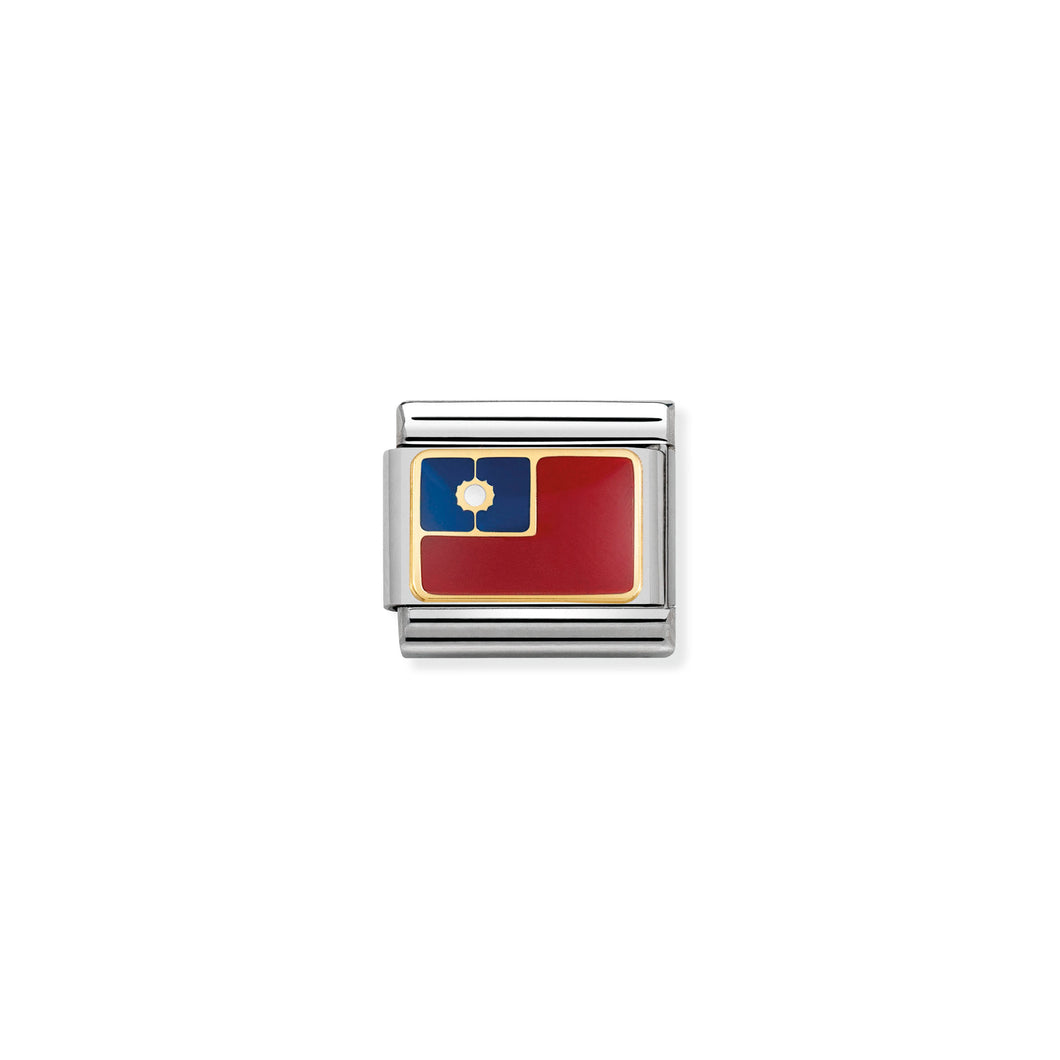 COMPOSABLE CLASSIC LINK 030236/22 TAIWAN FLAG IN 18K GOLD AND ENAMEL