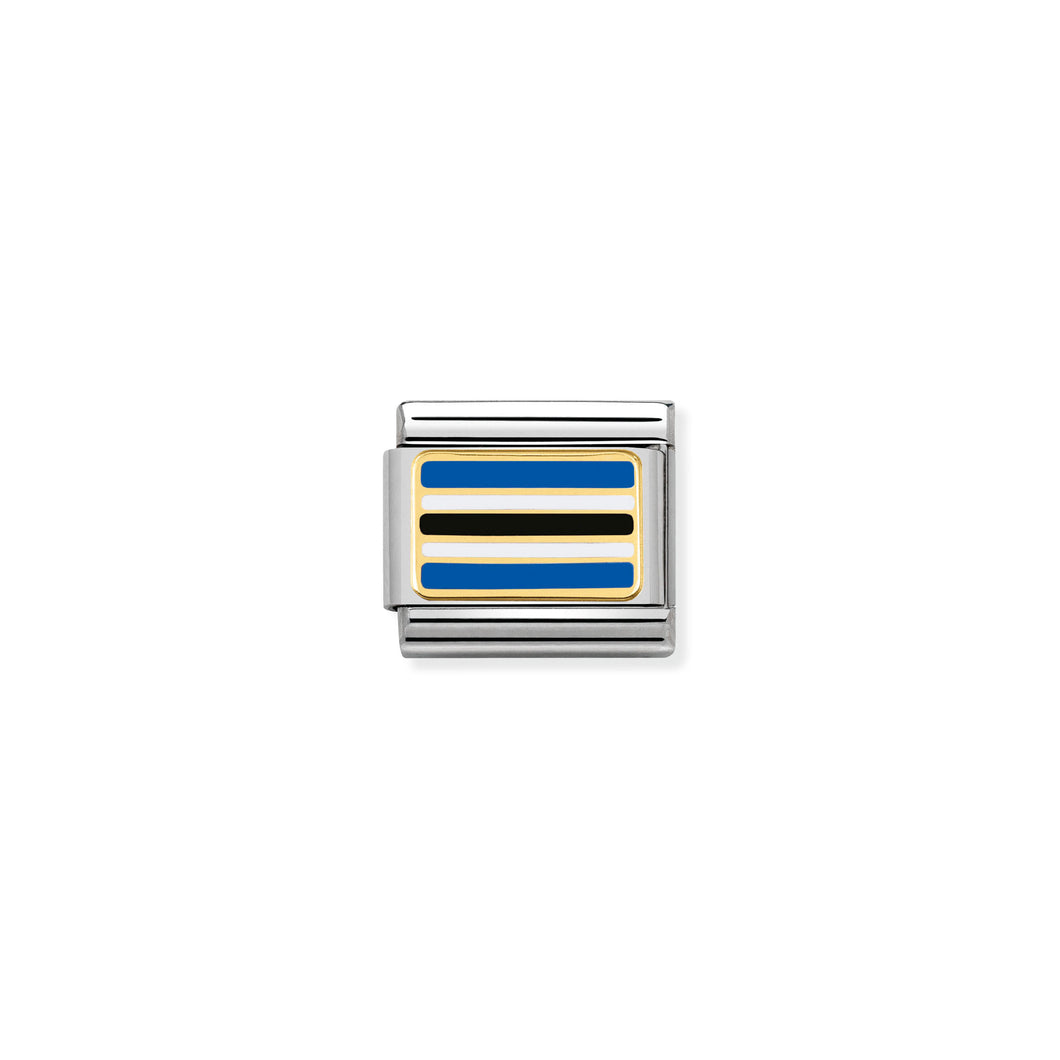 COMPOSABLE CLASSIC LINK 030237/18 BOTSWANA FLAG IN 18K GOLD AND ENAMEL