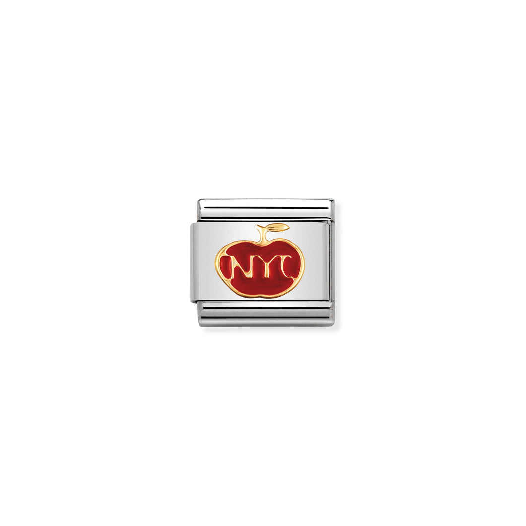 COMPOSABLE CLASSIC LINK 030243/19 NY THE BIG APPLE IN 18K GOLD AND ENAMEL