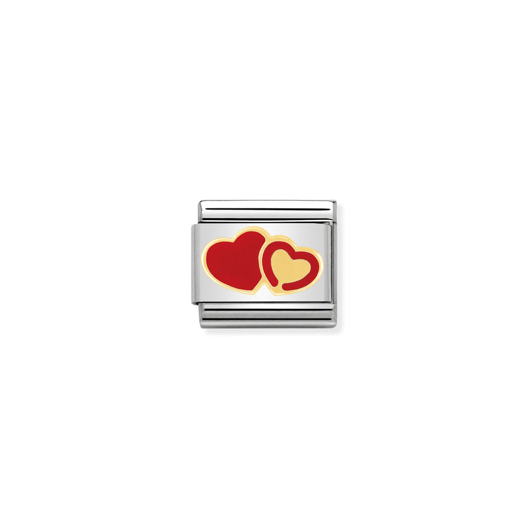 COMPOSABLE CLASSIC LINK 030253/29 RED AND GOLD HEARTS IN 18K GOLD AND ENAMEL