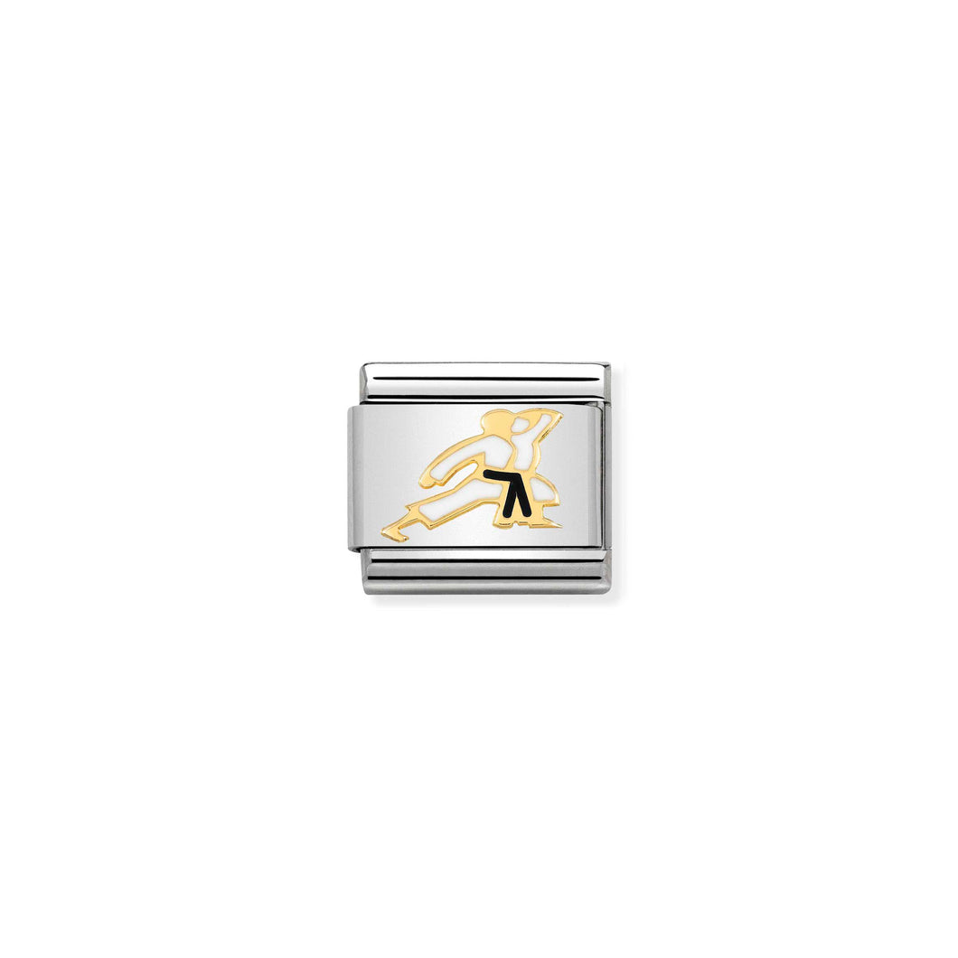 COMPOSABLE CLASSIC LINK 030259/19 KARATE IN 18K GOLD AND ENAMEL