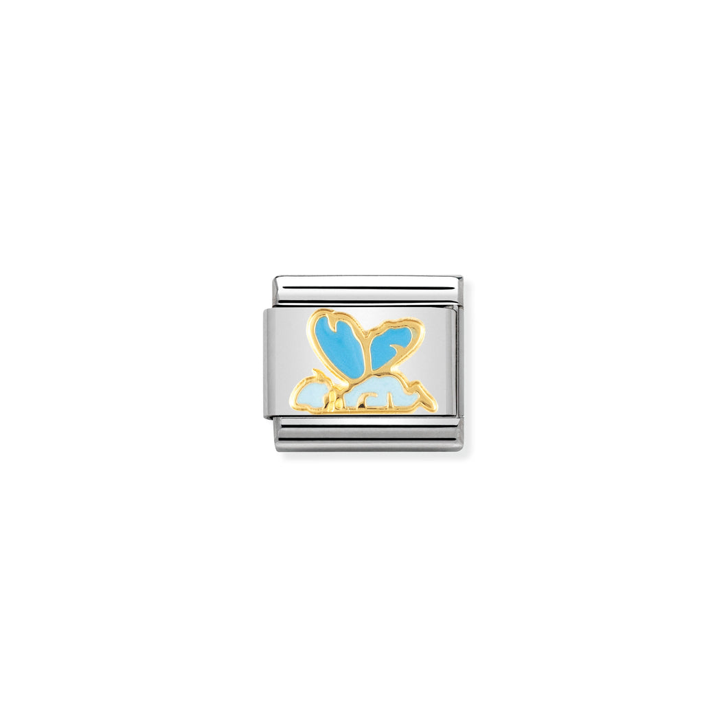 COMPOSABLE CLASSIC LINK 030272/05 LIGHT BLUE BABY FAIRY 18K GOLD AND ENAMEL