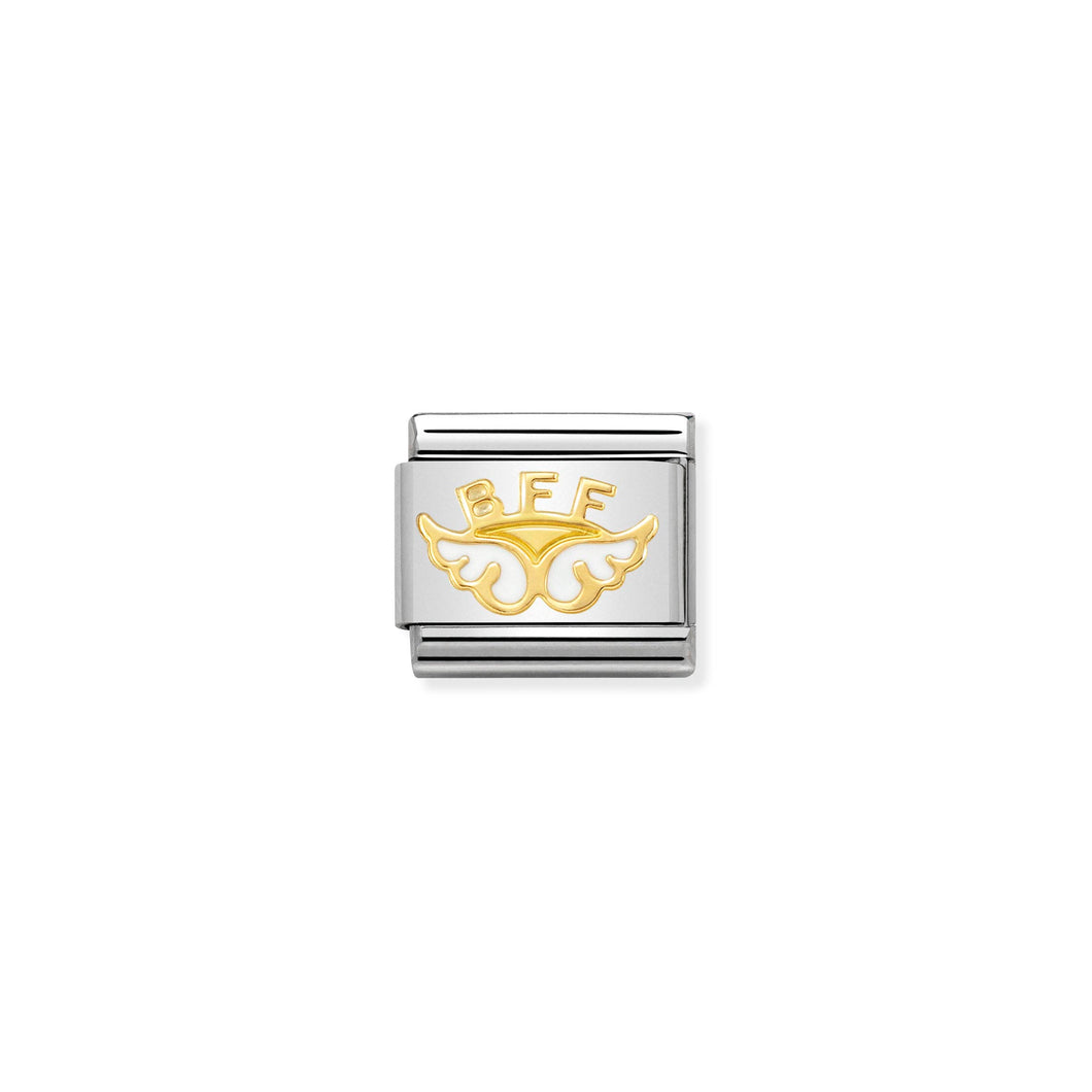 COMPOSABLE CLASSIC LINK 030272/32 ANGEL OF FRIENDSHIP 18K GOLD AND ENAMEL