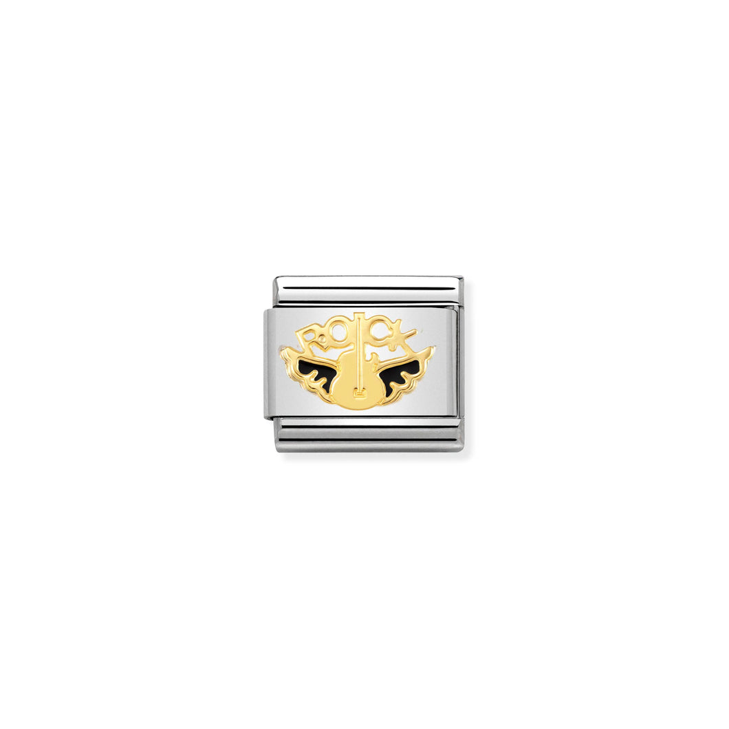 COMPOSABLE CLASSIC LINK 030272/35 ANGEL OF ROCK 18K GOLD AND ENAMEL