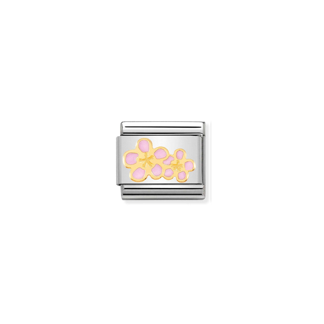 COMPOSABLE CLASSIC LINK 030278/16 PEACH FLOWER 18K GOLD AND ENAMEL