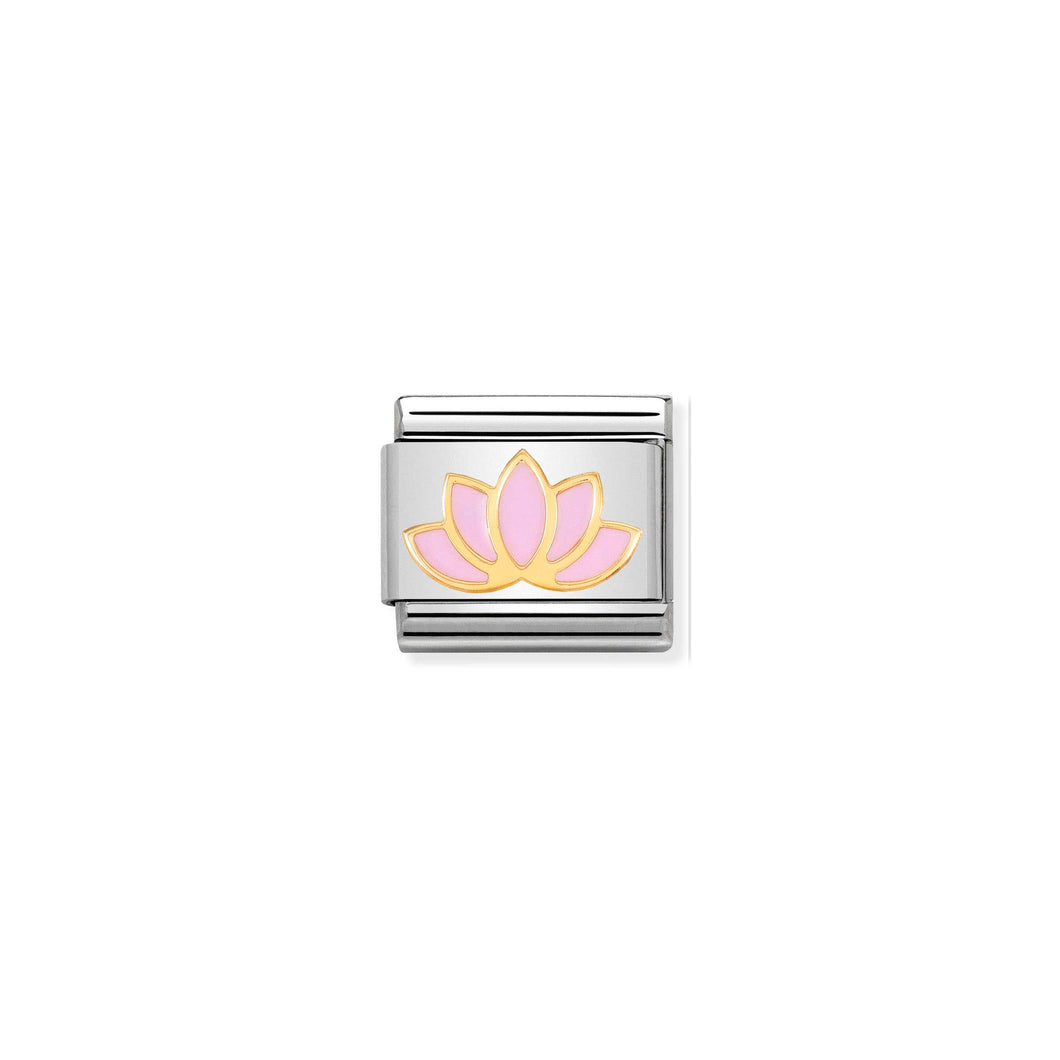 COMPOSABLE CLASSIC LINK 030278/17 LOTUS FLOWER 18K GOLD AND ENAMEL