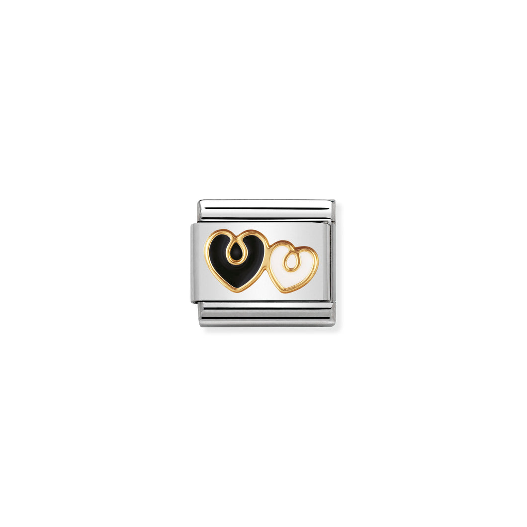 COMPOSABLE CLASSIC LINK 030279/07 BLACK AND WHITE HEART 18K GOLD AND ENAMEL