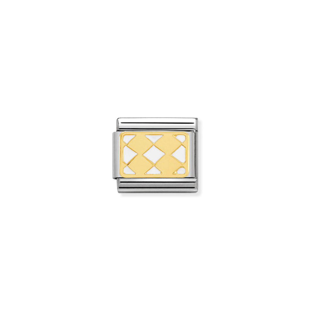 COMPOSABLE CLASSIC LINK 030280/19 RHOMBUS PATTERN 18K GOLD AND ENAMEL