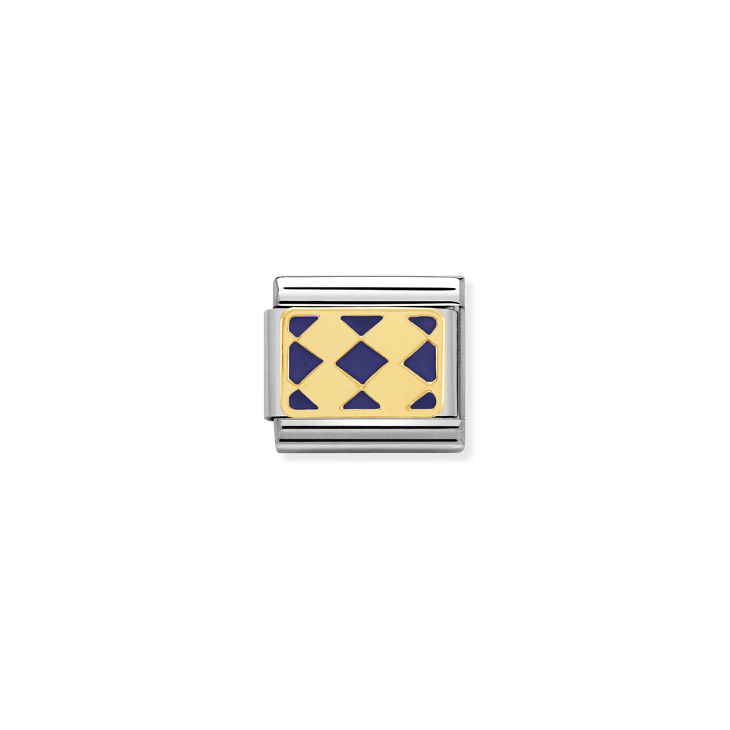 COMPOSABLE CLASSIC LINK 030280/29 RHOMBUS PATTERN BLUE 18K GOLD AND ENAMEL