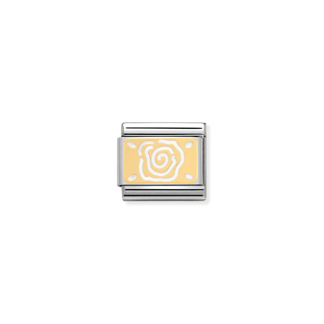COMPOSABLE CLASSIC LINK 030281/04 WHITE ROSE 18K GOLD AND ENAMEL