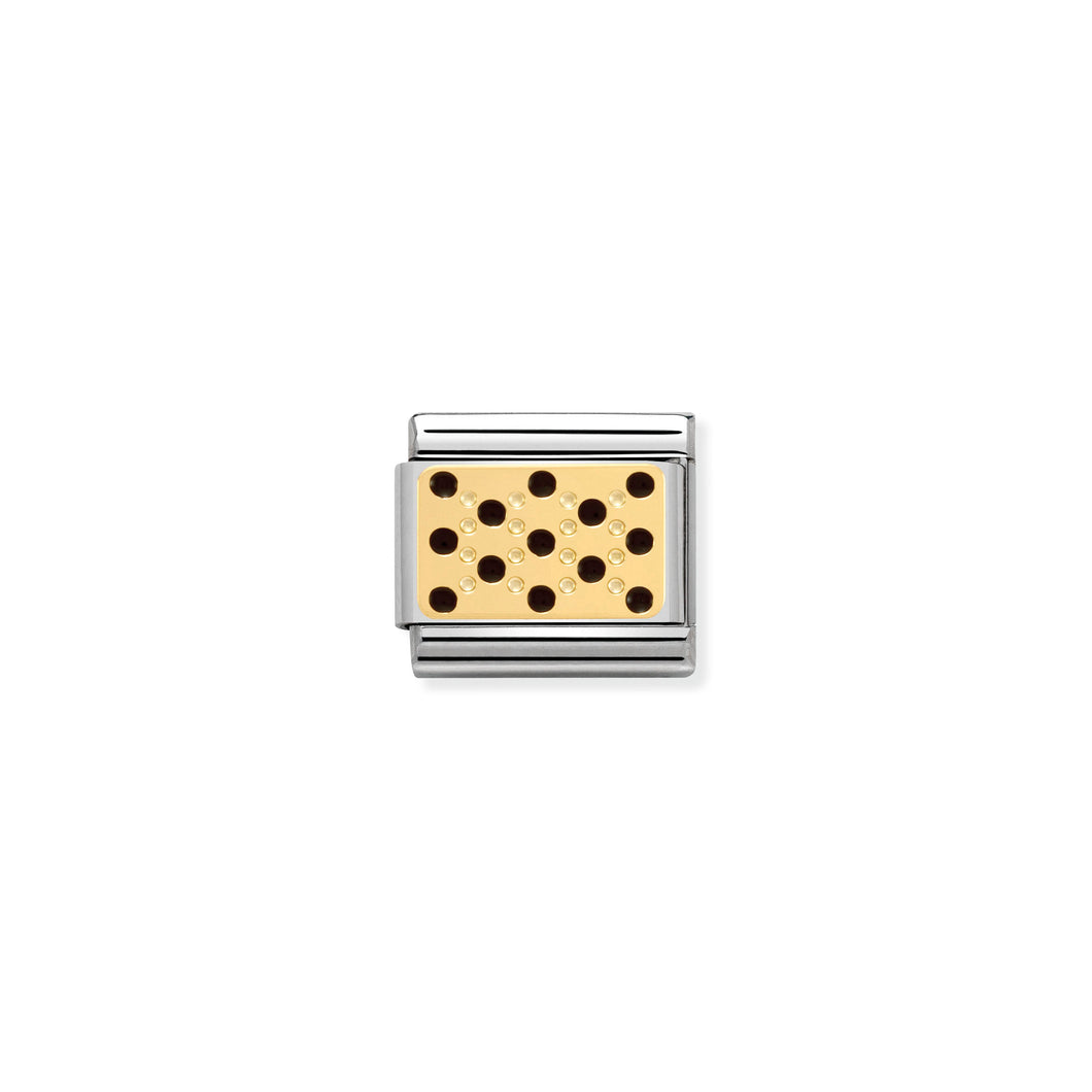 COMPOSABLE CLASSIC LINK 030281/10 BLACK DOTS 18K GOLD AND ENAMEL
